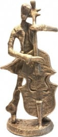 Bronze figurine Double Bass player