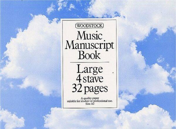 Music Manuscript Paper: 4 large Stave - 32 pages (A5L)
