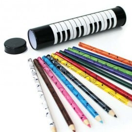 Colour pencils in 'keyboard' tin (tube)