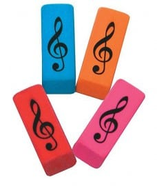 Eraser in a wedge shape with treble clef design