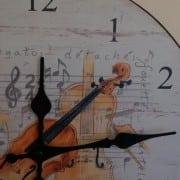 Violin design wall clock detail