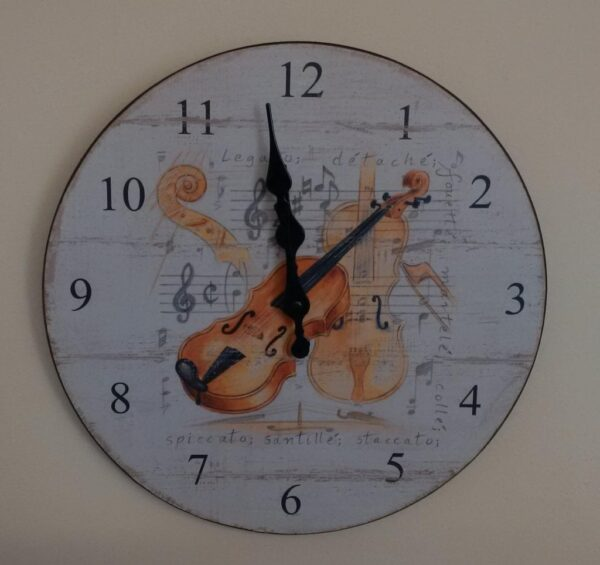 Violin design wall clock
